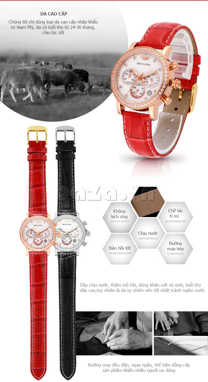 Đồng hồ nữ Brigada 3003 thiết kế đẹp