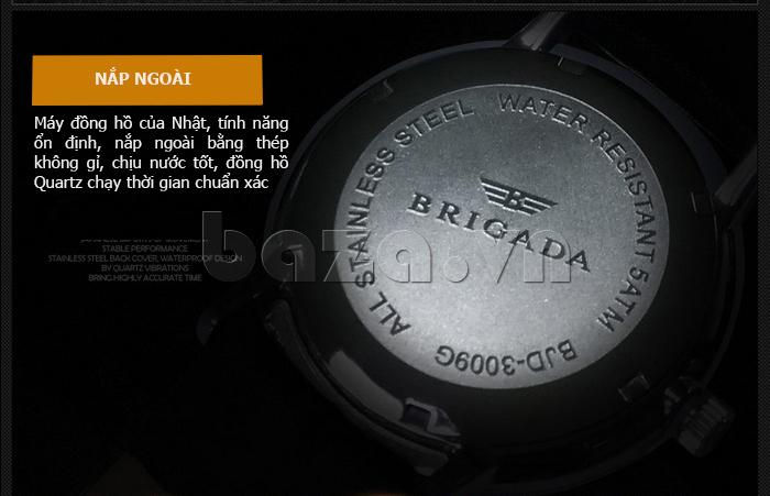 Đồng hồ nam Brigada BJD-3009G sử dụng bộ máy quartz Nhật Bản