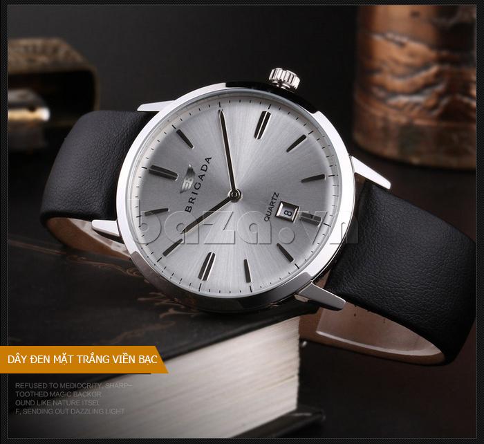 Đồng hồ nam Brigada BJD-3009G dây đen mặt trắng viền bạc