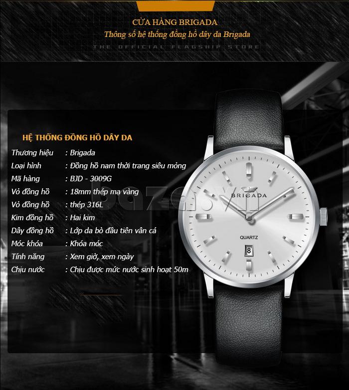 Đồng hồ nam công sở Brigada BJD-3009G