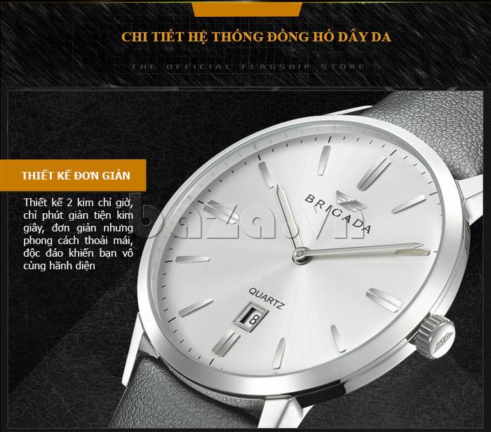 Đồng hồ nam Brigada BJD-3009G thiết kế hai kim chỉ