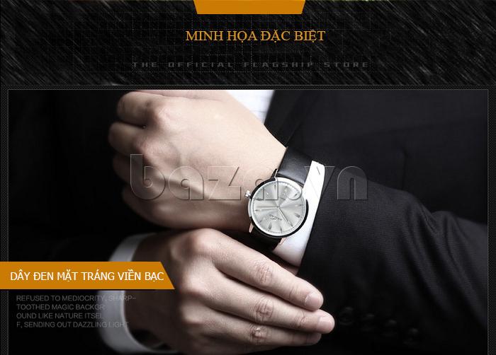 Đồng hồ nam Brigada BJD-3009G dây đen mặt trắng viền ánh bạc