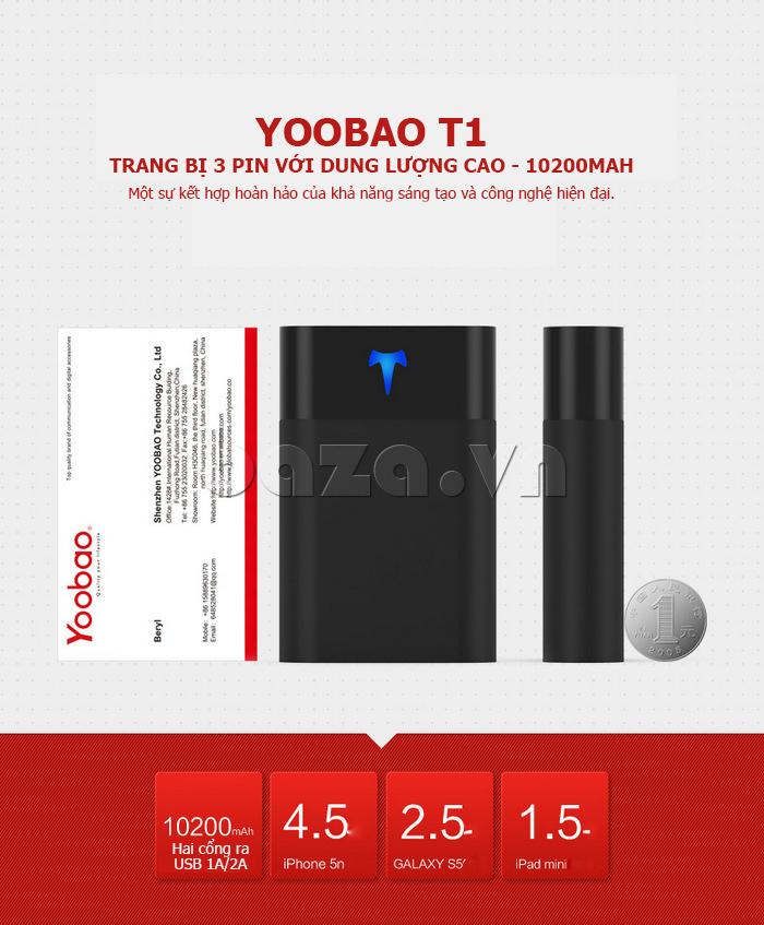 Pin dự phòng di động 2 cổng 10200mAh Yoobao T1 hot