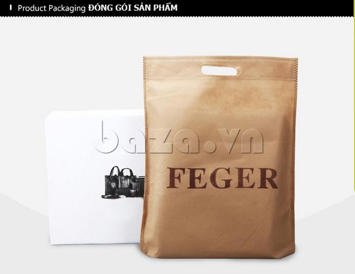 Túi da nam Feger 9808-1 dập lỗ tinh xảo, ấn tượng tuyệt đối