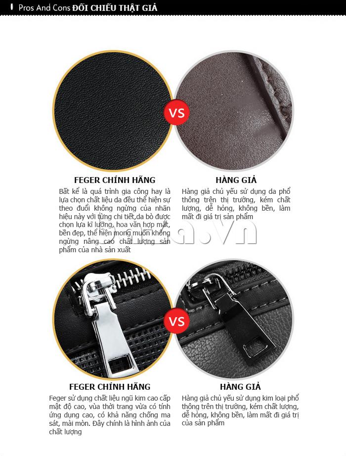 Túi da nam Feger 9808-1 dập lỗ tinh xảo, đẳng cấp phái mạnh
