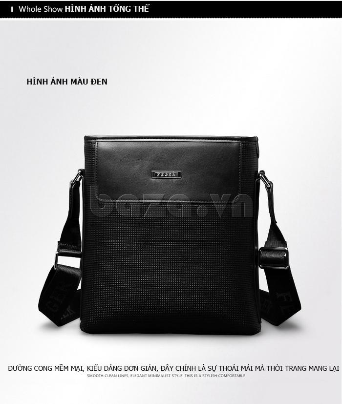 Túi da nam Feger 9808-1 dập lỗ tinh xảo, cao cấp