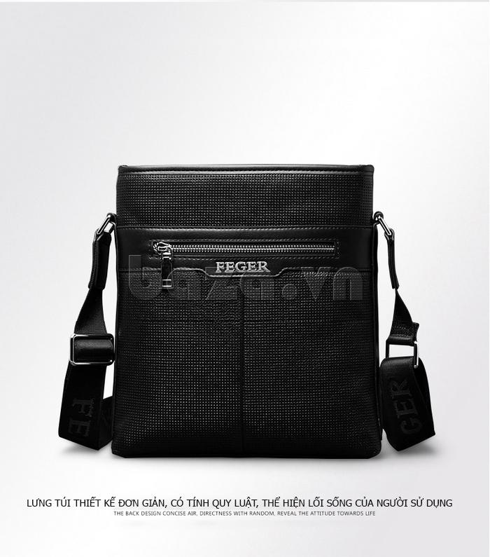 Túi da nam Feger 9808-1 dập lỗ tinh xảo, phong cách