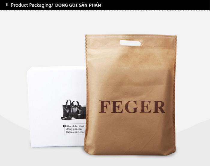 Túi da nam Feger 9808-2 túi da nam cao cấp chính hãng