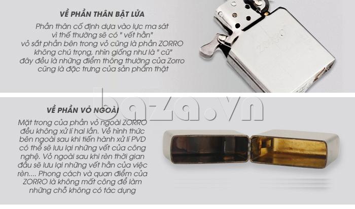 Thông tin thiết kế Bật lửa trơn trắng bạc Zorro Z6003a