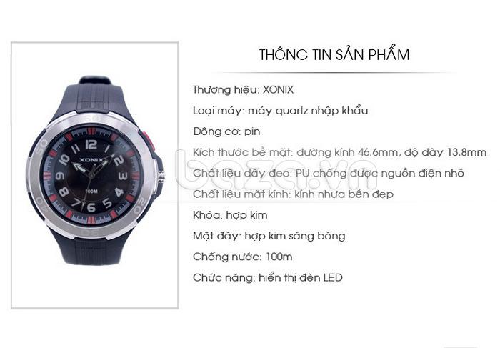 Đồng hồ thể thao Xonix SJ mặt đáy hợp kim sáng bóng