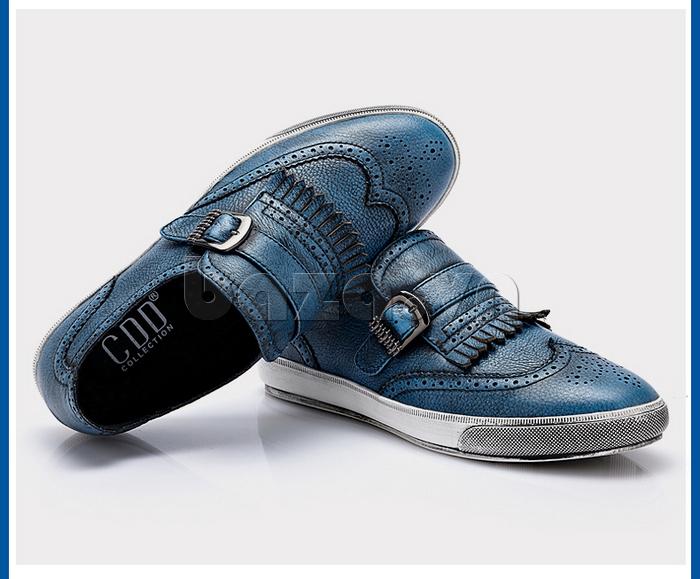 Giày da nam CDD 3835 viền tua rua thiết kế mũi giày dập lỗ