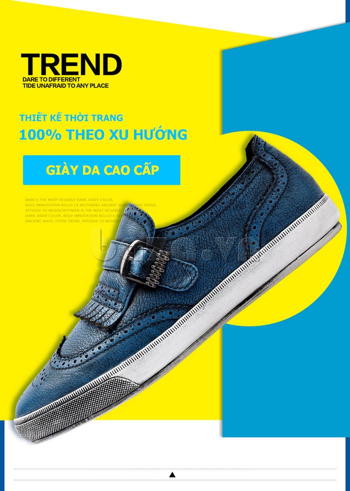 Giày da nam CDD 3835 viền tua rua có vẻ đẹp cá tính mạnh mẽ