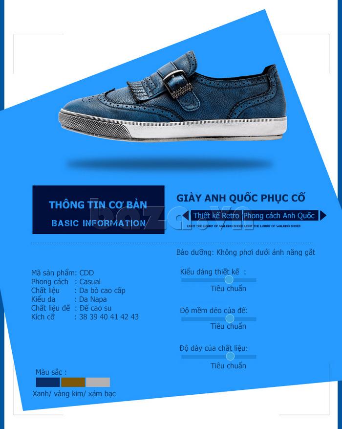 thông tin cơ bản của Giày da nam CDD 3835 viền tua rua