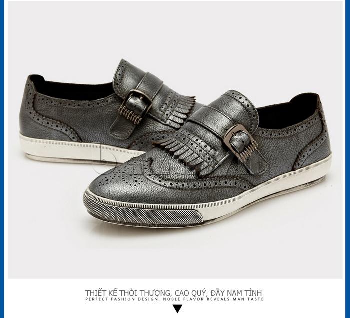Giày da nam CDD 3835 viền tua rua thời trang cá tính