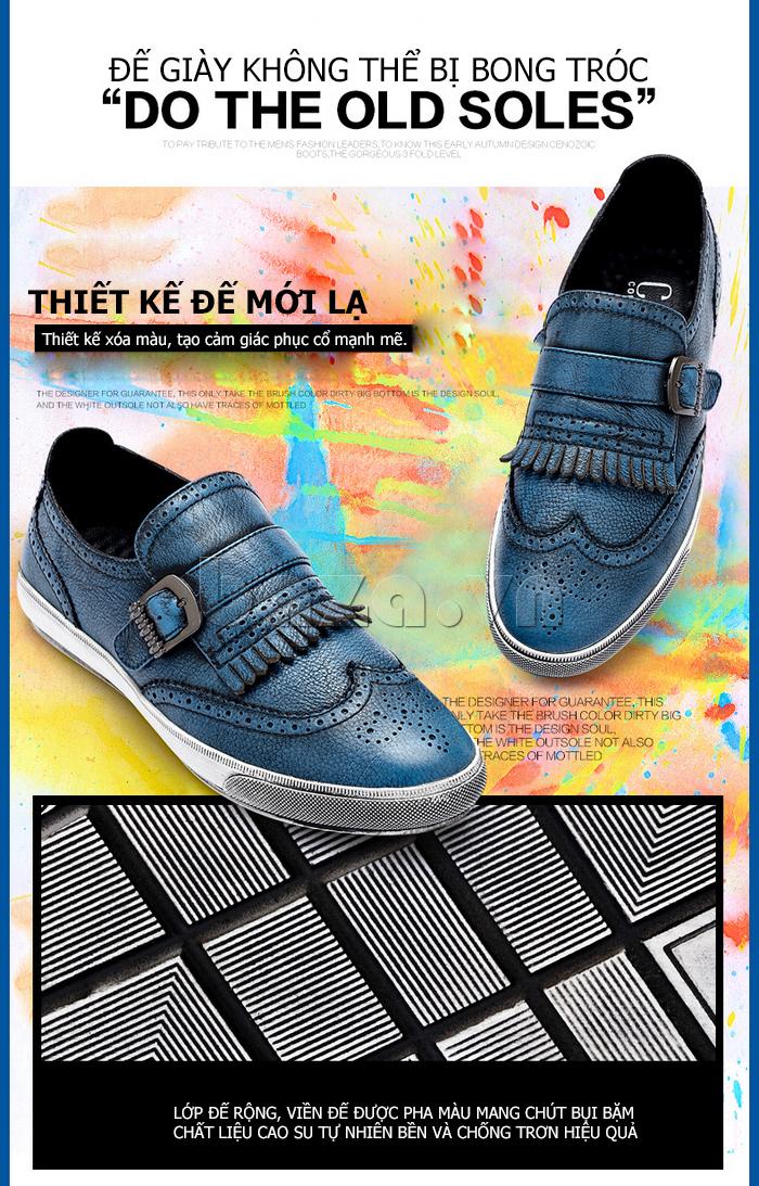 Giày da nam CDD 3835 viền tua rua đế giày bằng