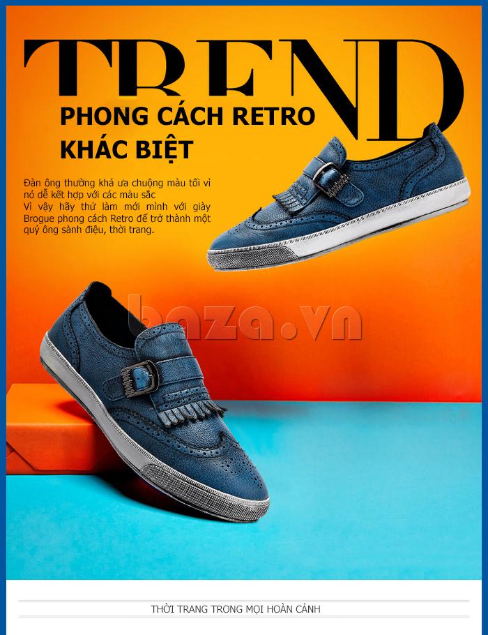 Giày da nam CDD 3835 viền tua rua thể hiện phong cách của giới trẻ
