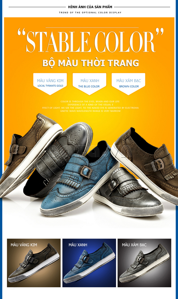Giày da nam CDD 3835 viền tua rua chọn màu theo cá tính