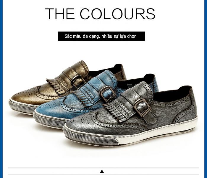 Giày da nam CDD 3835 viền tua rua có 3 màu độc đáo