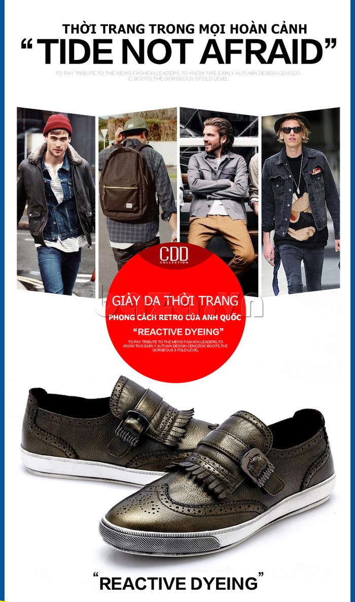 Giày da nam CDD 3835 viền tua rua đem đến xu hướng thời trang bụi bặm cho nam giới