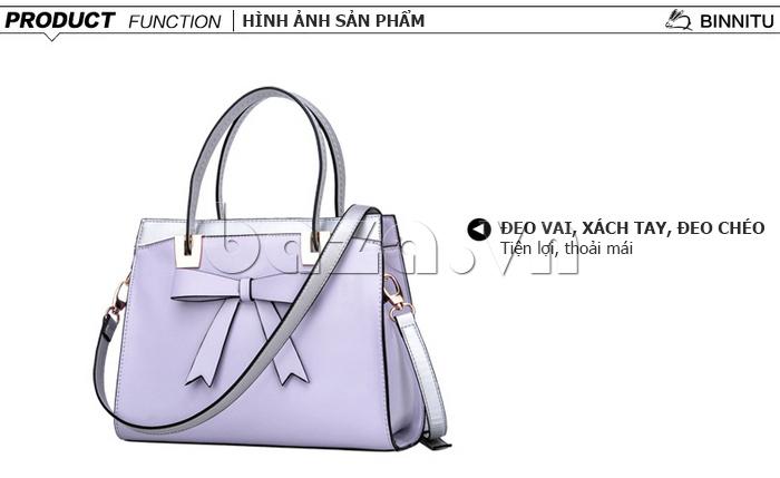 Túi xách nữ Binnitu 7320 Nơ trang trí nổi bật hình ảnh sản phẩm cuốn hút