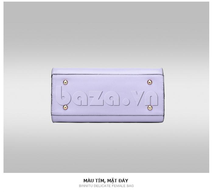 Túi xách nữ Binnitu 7320 Nơ trang trí nổi bật đinh tán ở đáy bảo vệ túi