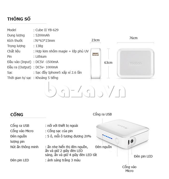 Pin dự phòng di động 5200mAh Yoobao DK025 YB-629 tiện lợi