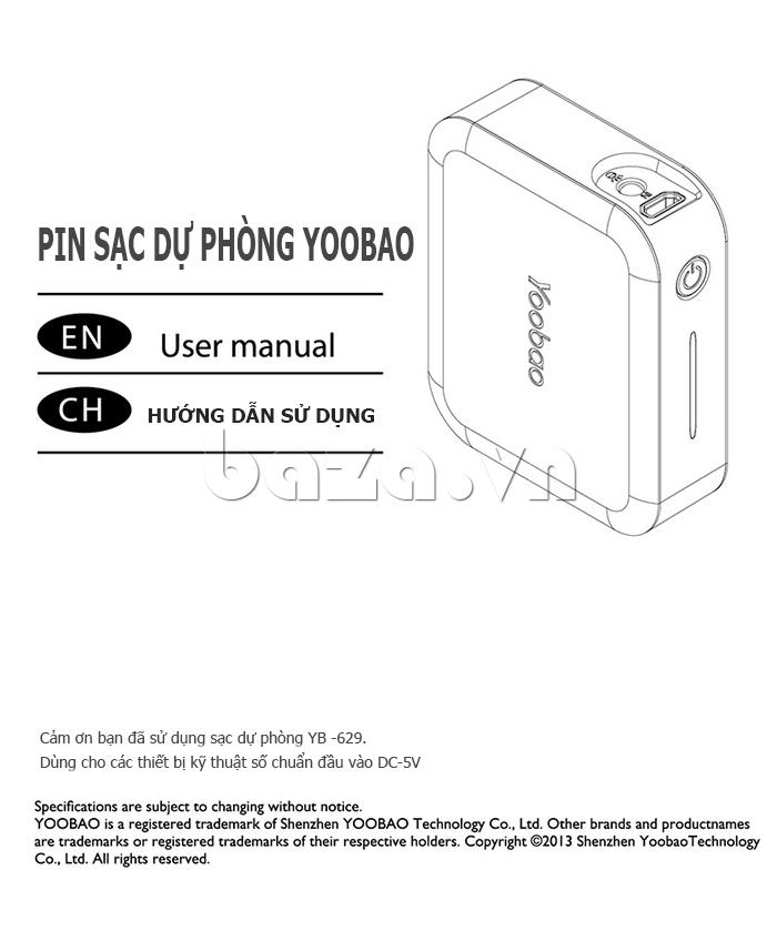 Pin dự phòng di động 5200mAh Yoobao DK025 YB-629 bán tại baza
