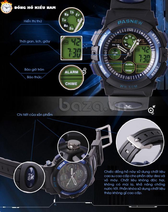 Đồng hồ thể thao PASNEW đồng hồ hiển thị ngày giờ, thứ rõ ràng