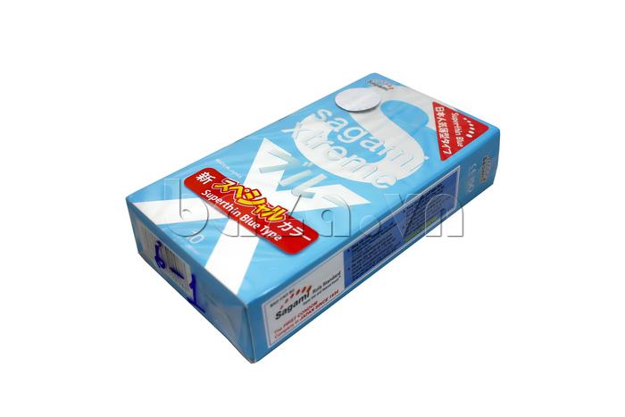 Bao cao su Sagami siêu mỏng màu xanh