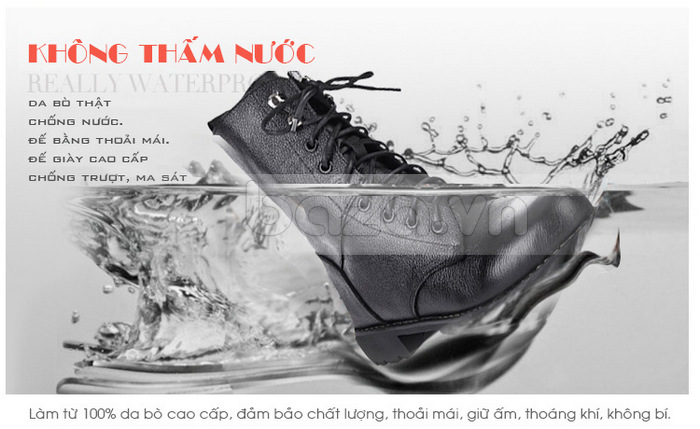 Đế và gót giày chất liệu cao su tự nhiên hoàn toàn không thấm nước