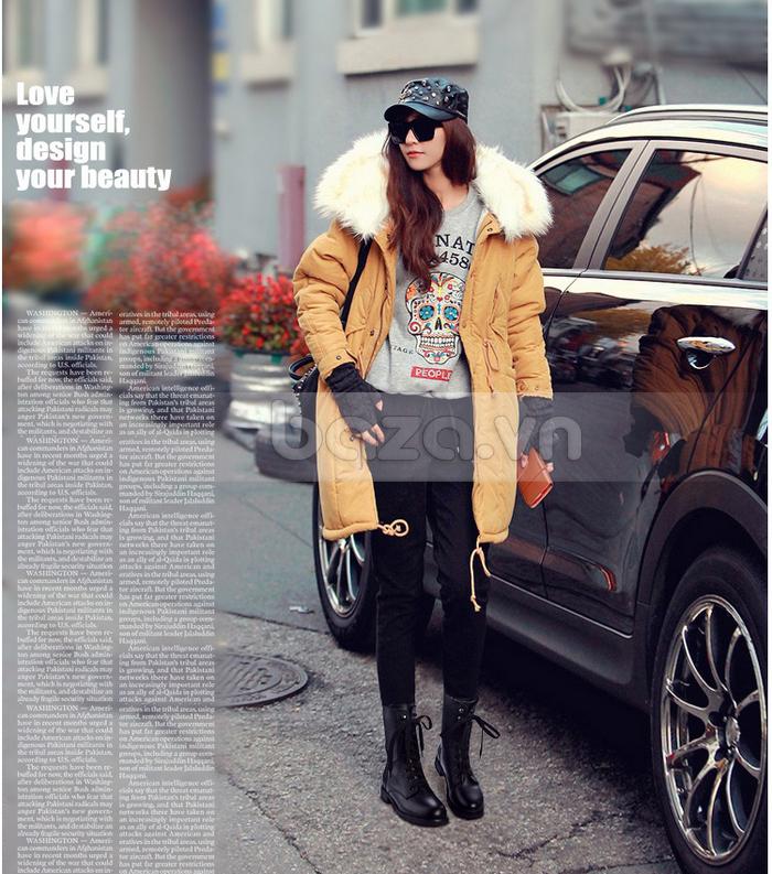 Phối giày bốt với legging, áo khoác over size cho mùa đông ấm áp
