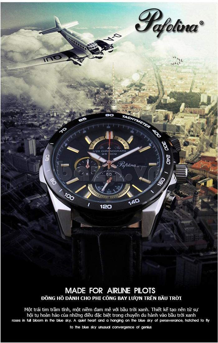 Đồng hồ nam mặt khoáng Pafolina RL-3520 chống nước cực khủng