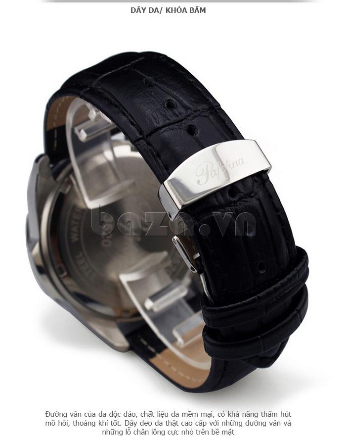 dây da khóa bấm của Đồng hồ nam mặt khoáng Pafolina RL-3520