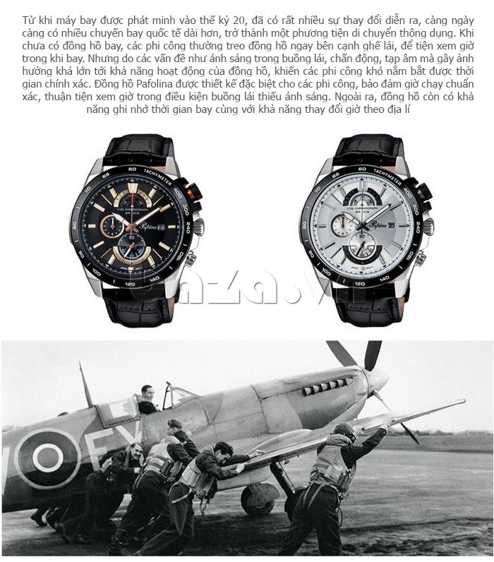 Đồng hồ nam mặt khoáng Pafolina RL-3520 chuyên dụng cho máy bay
