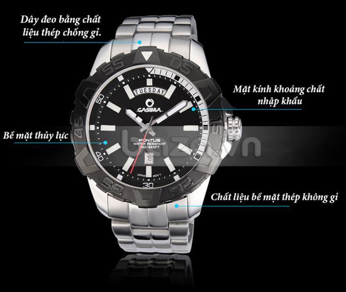 Các chi tiết Đồng hồ nam Casima PT-8901 đều làm từ nguyên liệu cao cấp