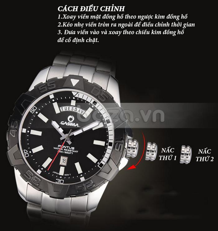 Đồng hồ nam Casima PT-8901 dễ dàng điều chỉnh với các núm vặn