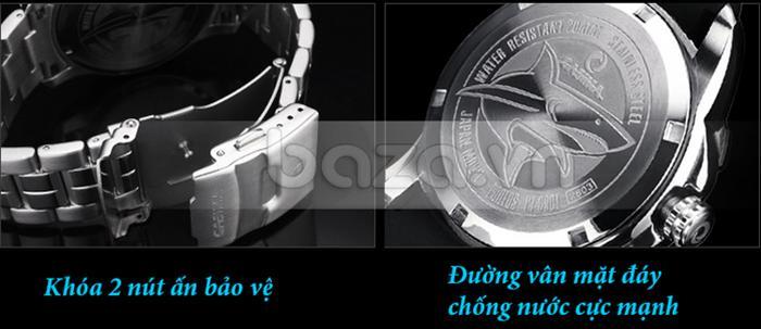 Khóa hai nút ấn cho đồng hồ luôn ôm trọn cổ tay