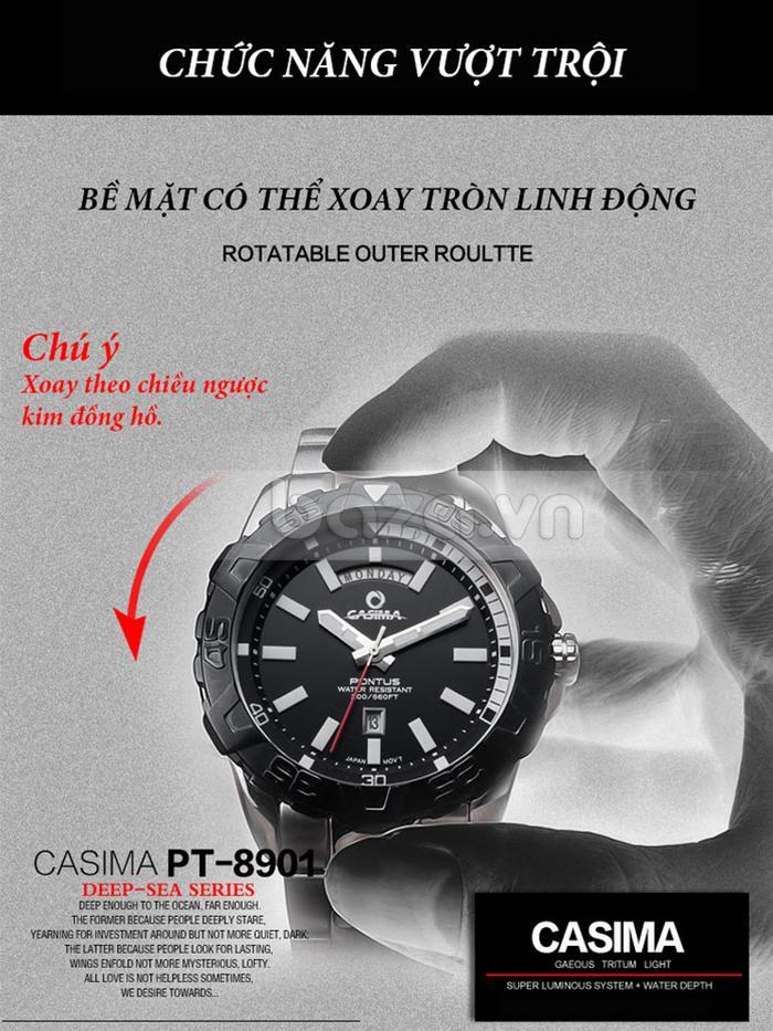 Bề mặt Đồng hồ nam Casima PT-8901 có thể xoay tròn linh động