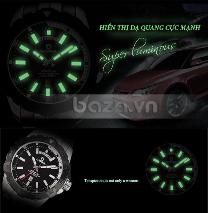 Đồng hồ nam Casima PT-8901 hiển thị dạ quang cực mạnh