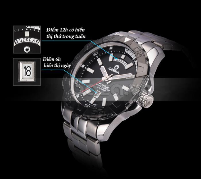 Đồng hồ nam Casima PT-8901 thiết kế ô hiển thị lịch tiện dụng