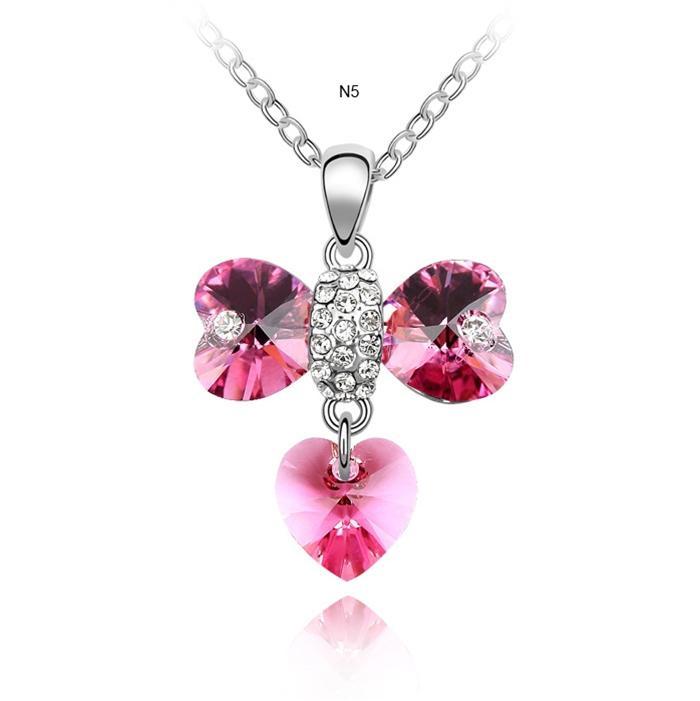 dây chuyền ngôn ngữ trái tim màu hồng xinh đẹp