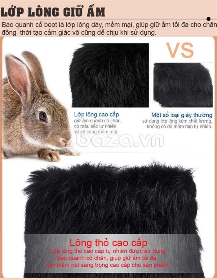 Bao quanh cổ bốt là lớp lông thỏ giữ ấm