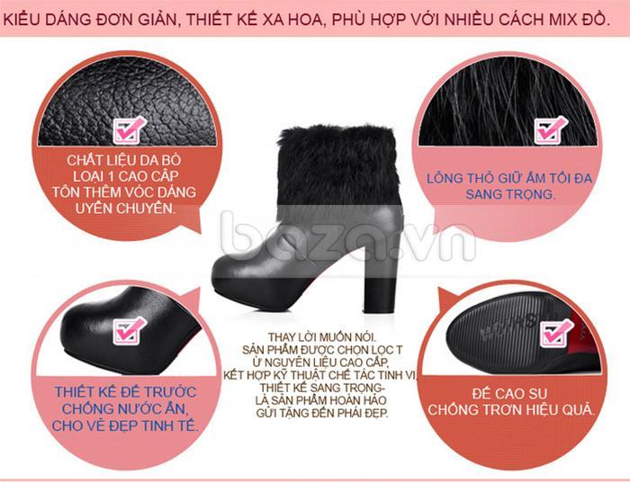 Đôi giày bốt nữ Yiya được làm từ những nguyên liệu cao cấp