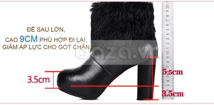 Giày bốt nữ cao gót với phân gót cao 9cm tôn dáng