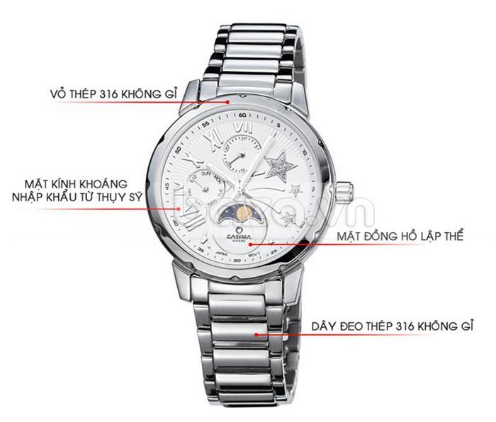 Mặt đồng hồ thiết kế lập thể với kính khoáng chống xước, vỏ thép 316L