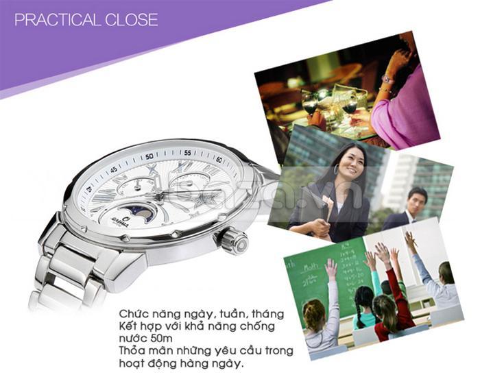Đẹp mà chất, chiếc đồng hồ được tích hợp tính năng xem lịch ngày, tuần, tháng và khả năng chống nước 50m