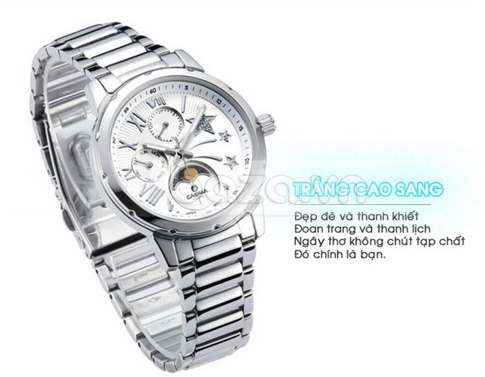 Đồng hồ nữ mặt trắng thể hiện vẻ đẹp thanh khiết và đoan trang