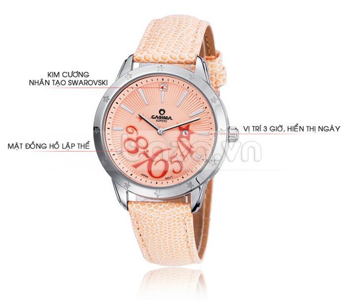 Đồng hồ nữ Casima SP-2802-SL6 gắn đá pha lê Swarovski