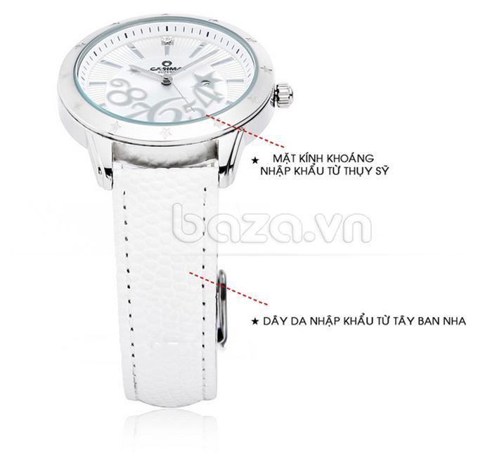 Đồng hồ nữ Casima SP-2802-SL6 mặt kính khoáng thụy sĩ