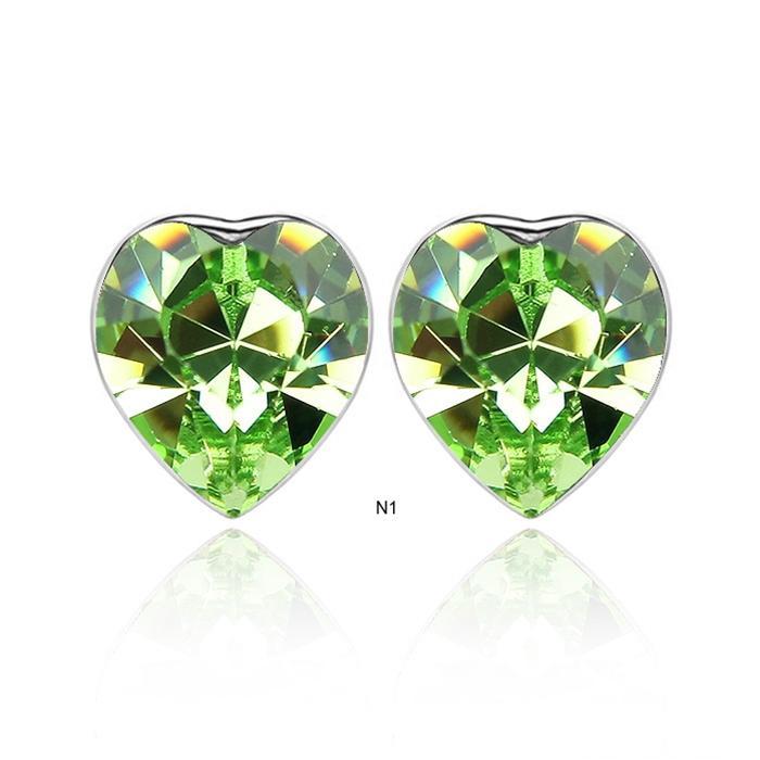 baza.vn: hoa tai trái tim tình nhân vẻ đẹp thời trang cuốn hút, màu sắc xanh lá tươi mát